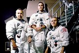 Jim Lovell, Bill Anders and Frank Borman, crew of Apollo 8.